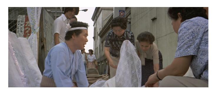 第23作「男はつらいよ 翔んでる寅次郎」で寅さんが啖呵売した商品「レースのカーテン布地」