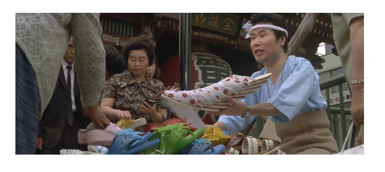 第11作「男はつらいよ 寅次郎忘れな草」で寅さんが啖呵売した商品「レコード、スリッパ」